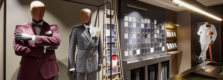 Costume sur mesure collection ete tissu lin bleu ciel