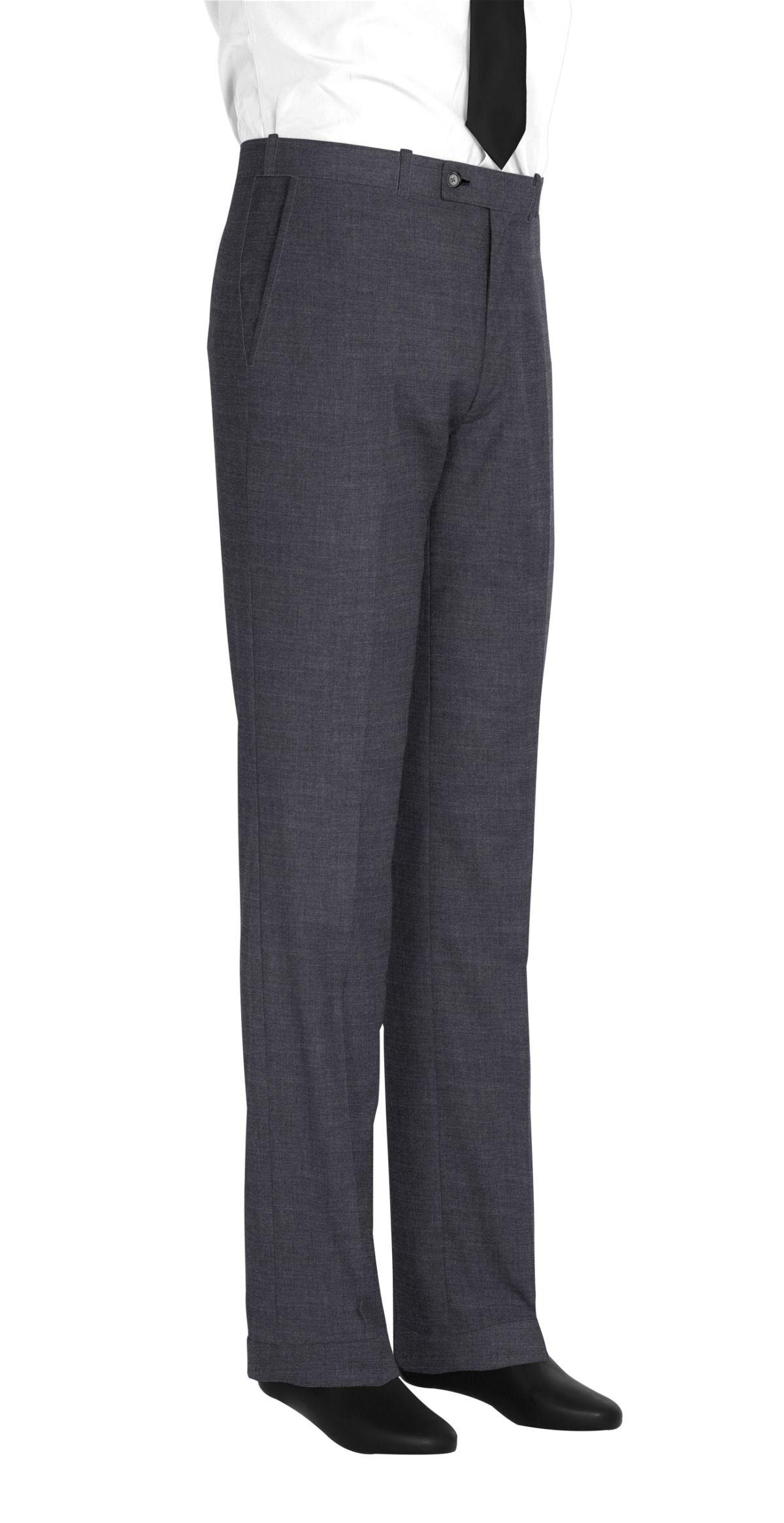 Pantalon homme sur mesure et personnalisé gris uni  bas avec revers