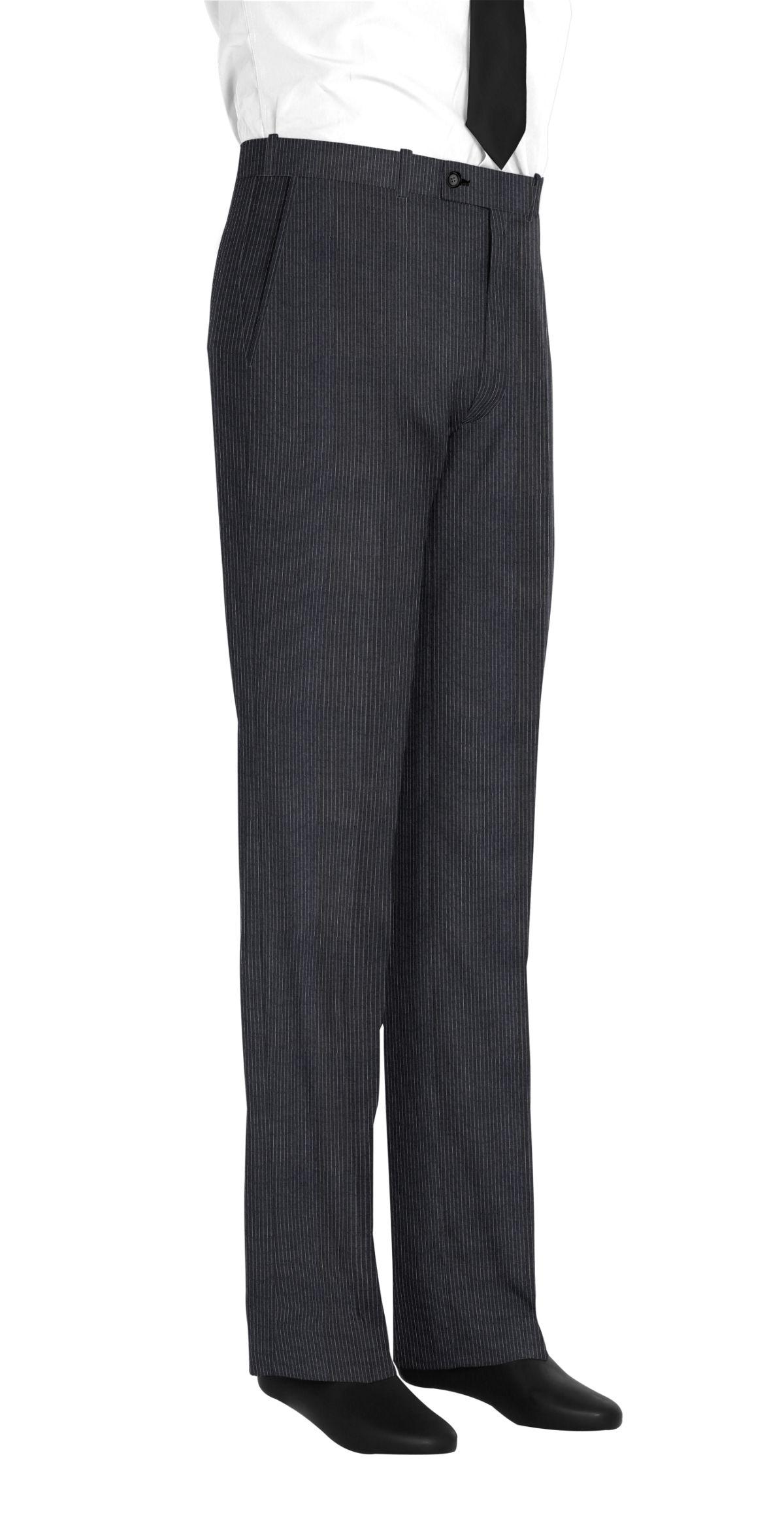 Pantalon homme sur mesure et personnalisé gris, gris foncé rayé  bas simple sans revers