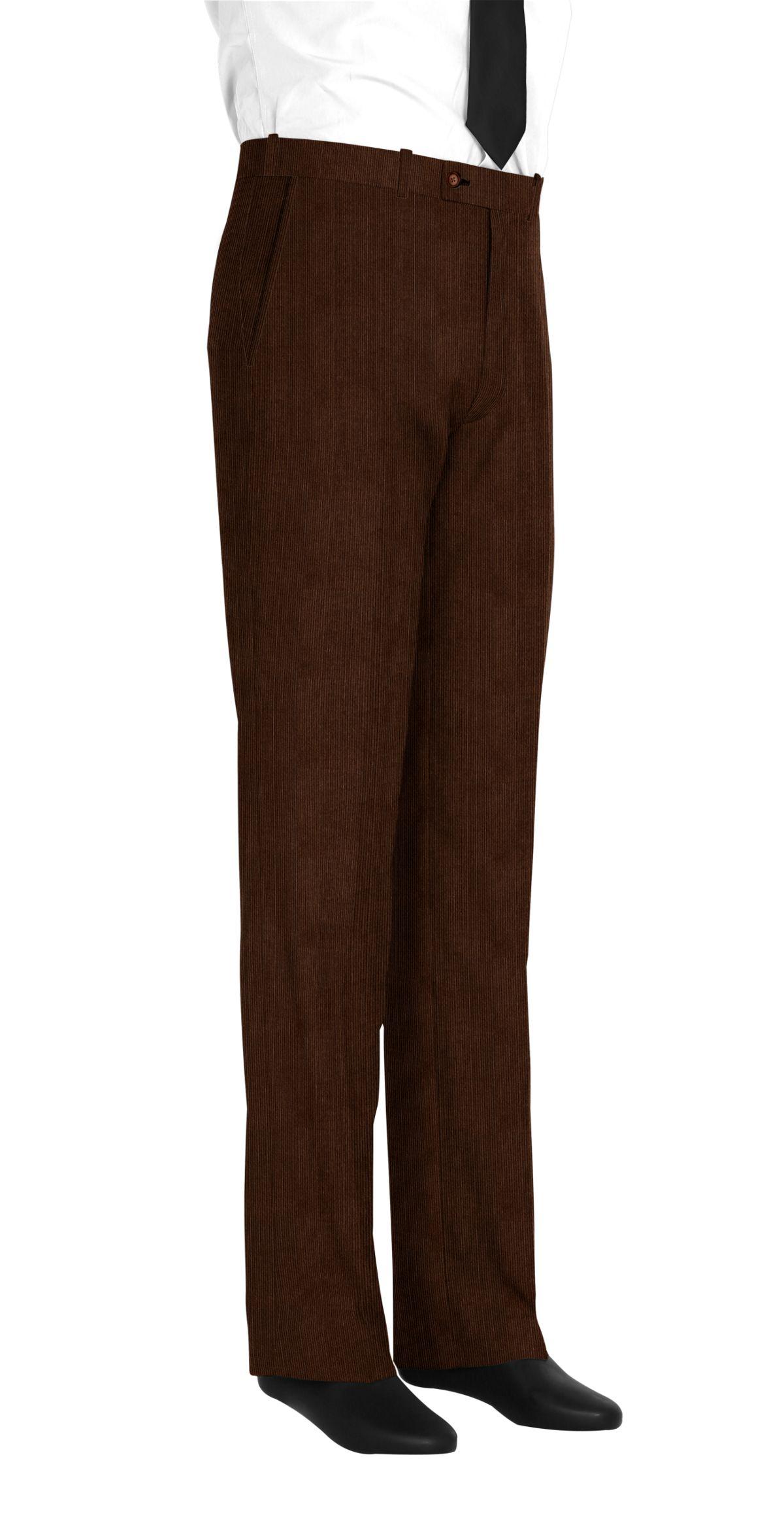 Pantalon homme sur mesure et personnalisé marron uni  bas simple sans revers