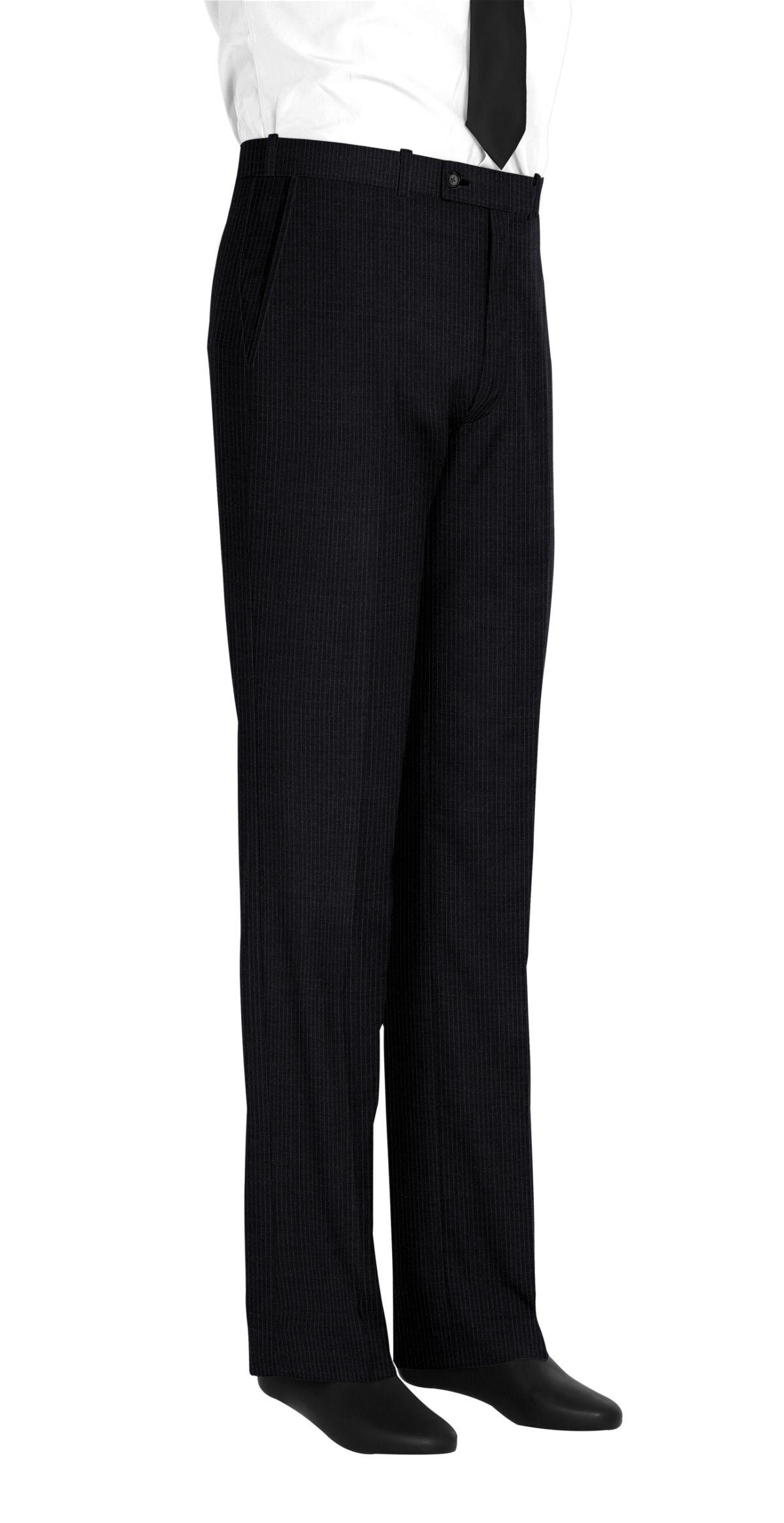 Pantalon homme sur mesure et personnalisé gris anthracite rayé  bas simple sans revers
