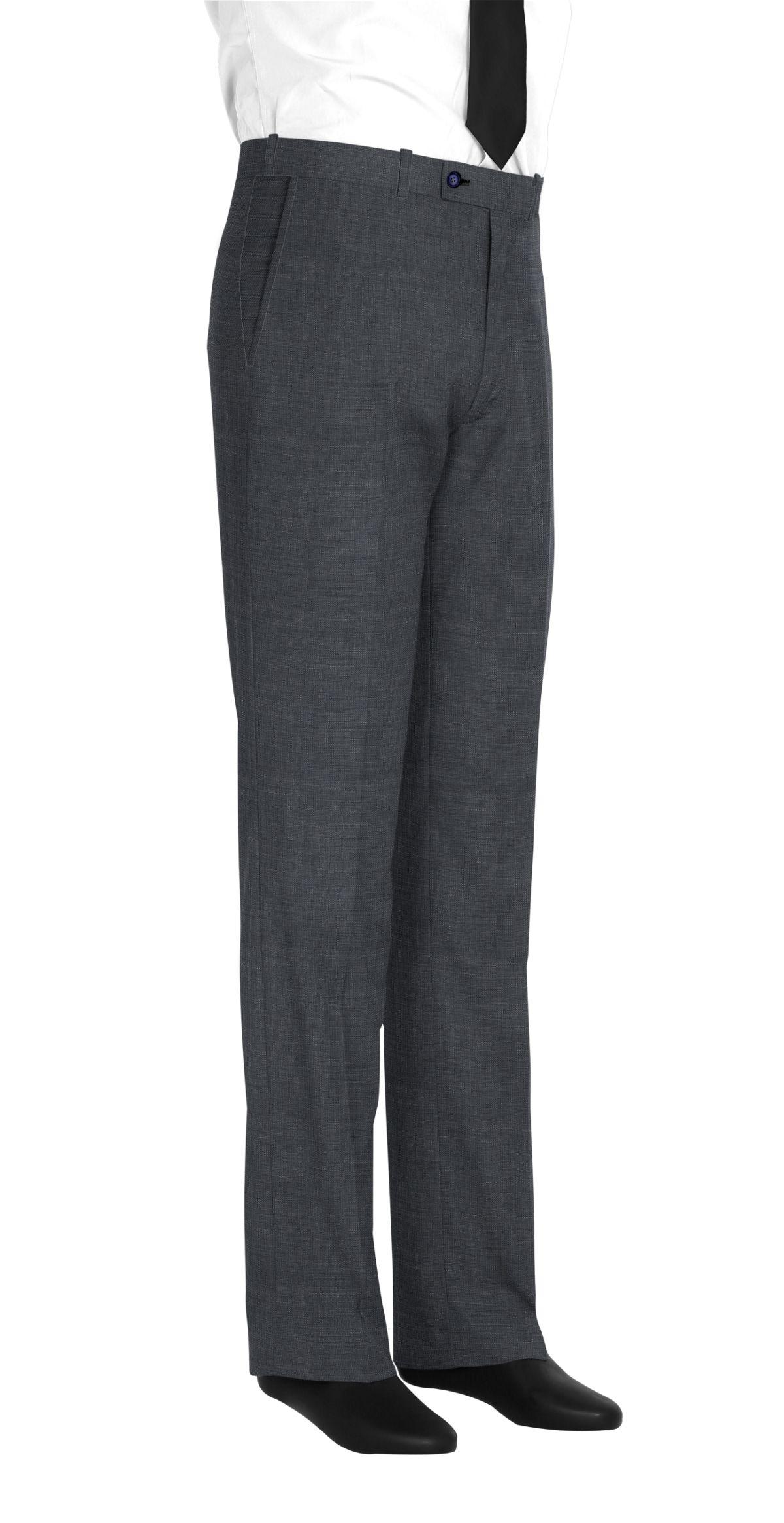 Pantalon homme sur mesure et personnalisé gris uni  bas simple sans revers