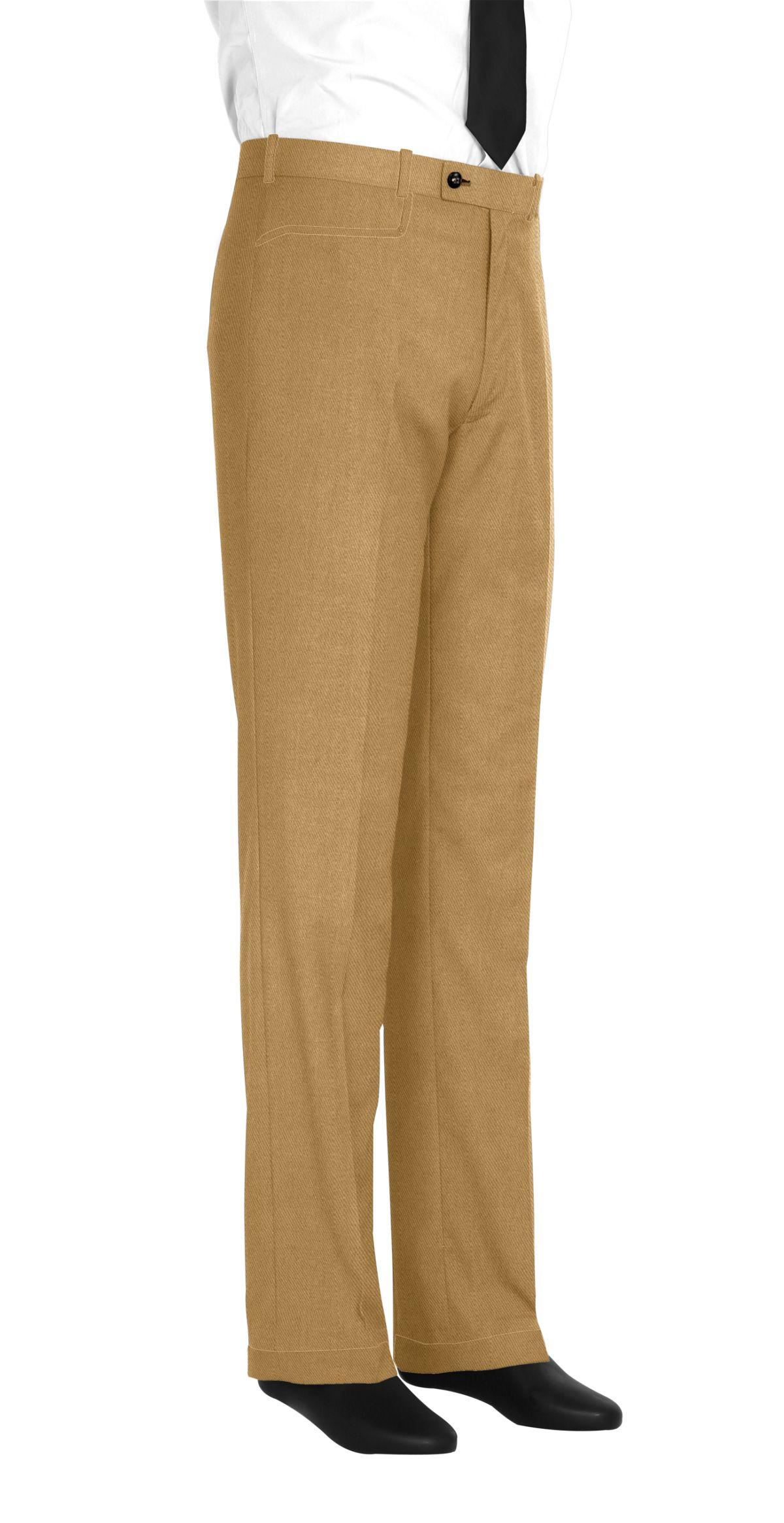 Pantalon homme sur mesure et personnalisé beige uni  bas avec revers