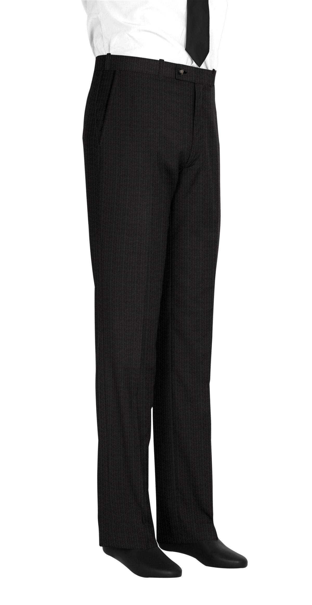 Pantalon homme sur mesure et personnalisé gris rayé  bas simple sans revers