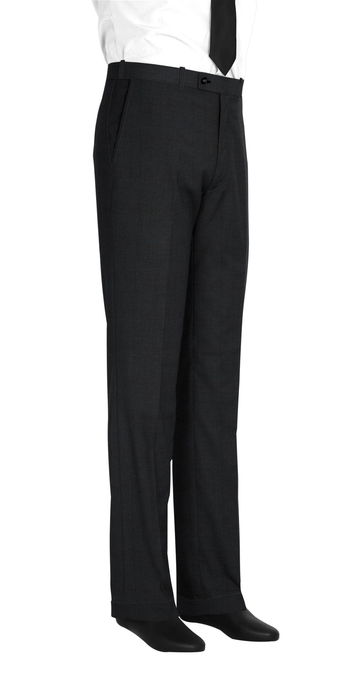 Pantalon homme sur mesure et personnalisé noir uni  bas avec revers