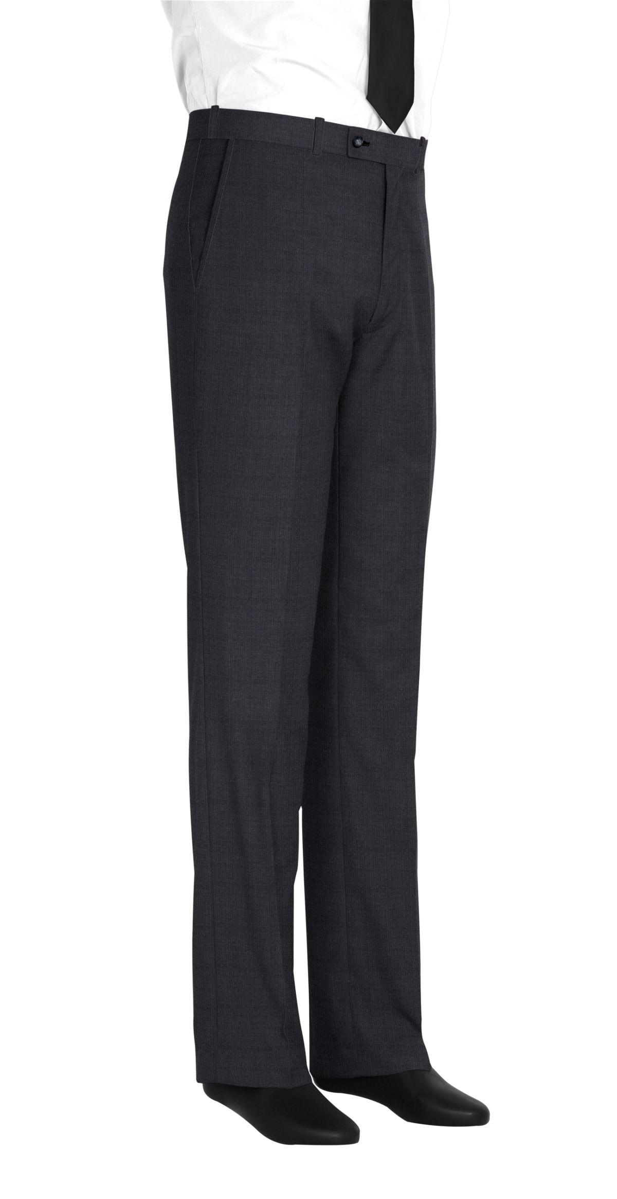 Pantalon homme sur mesure et personnalisé gris foncé uni  bas simple sans revers