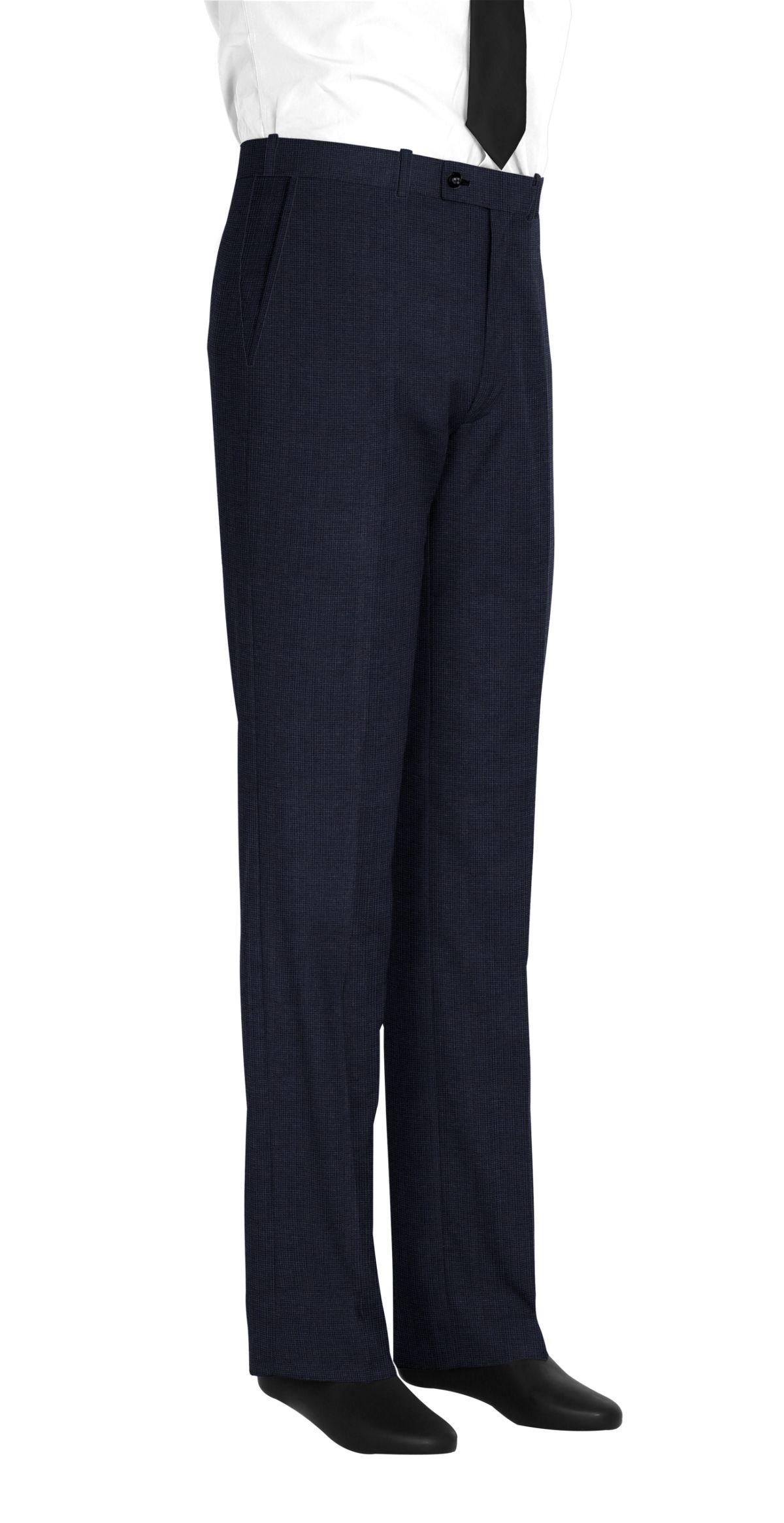 Pantalon homme sur mesure et personnalisé bleu uni  bas simple sans revers