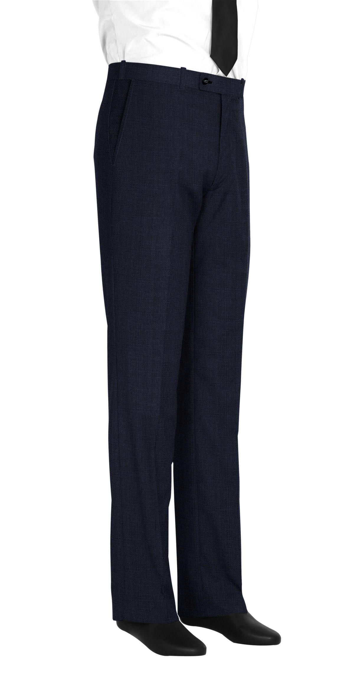 Pantalon homme sur mesure et personnalisé bleu foncé uni  bas simple sans revers