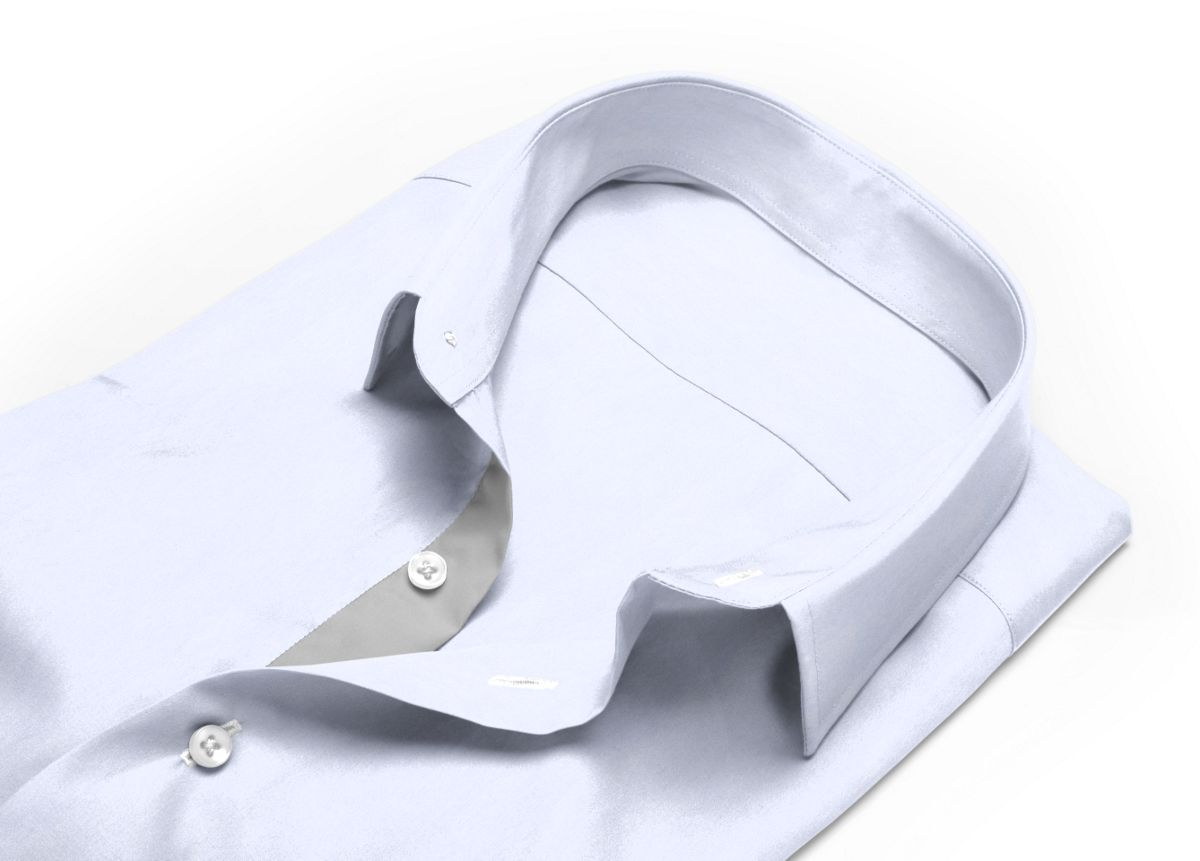 Chemise col indien à rabats extérieurs Blanc popeline