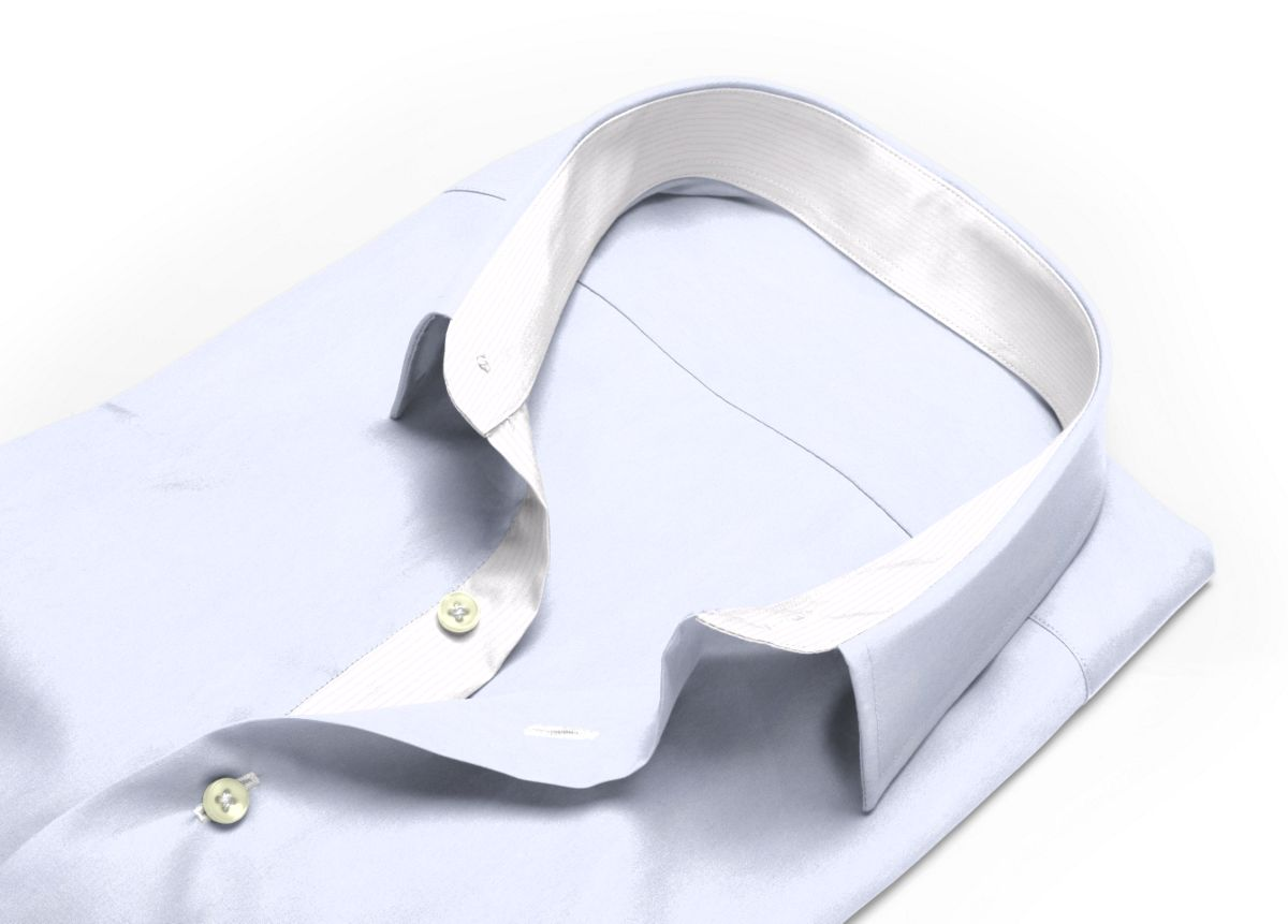 Chemise Col italien très ouvert Blanc popeline