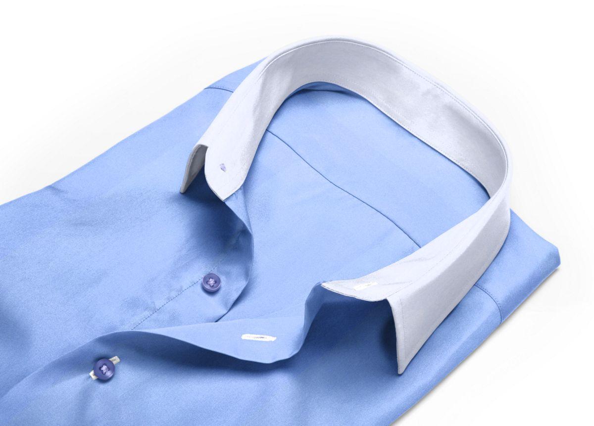 Chemise col rond bleu, bleu clair popeline