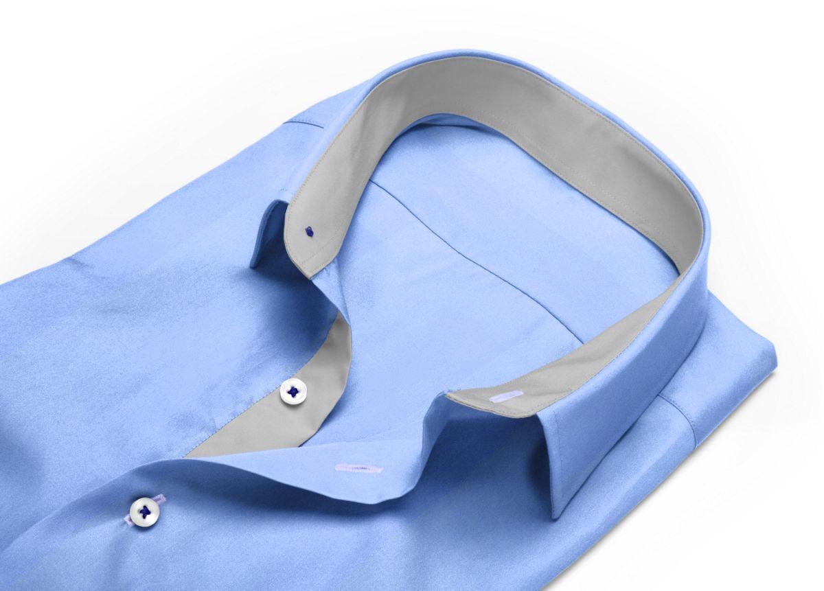 Chemise Col italien bleu, bleu clair popeline