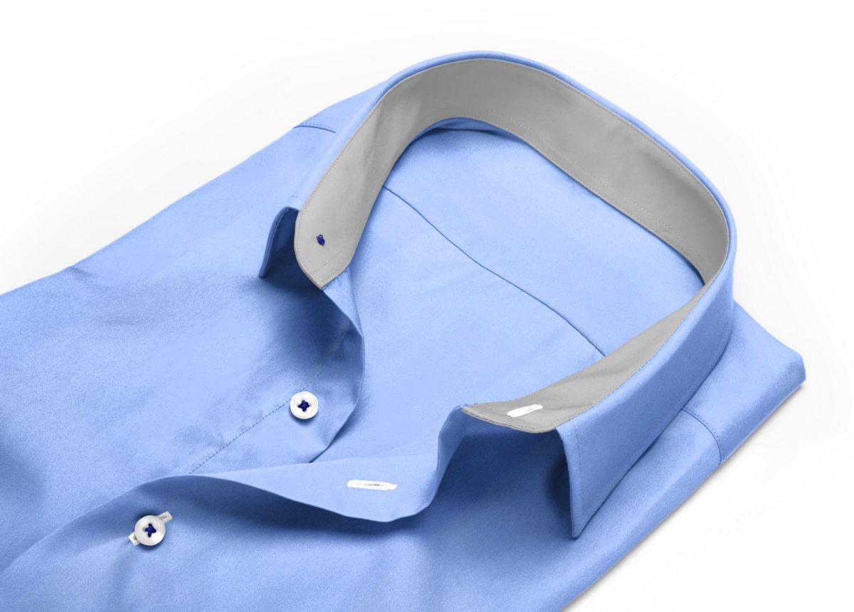 Chemise Col italien très ouvert bleu, bleu clair popeline