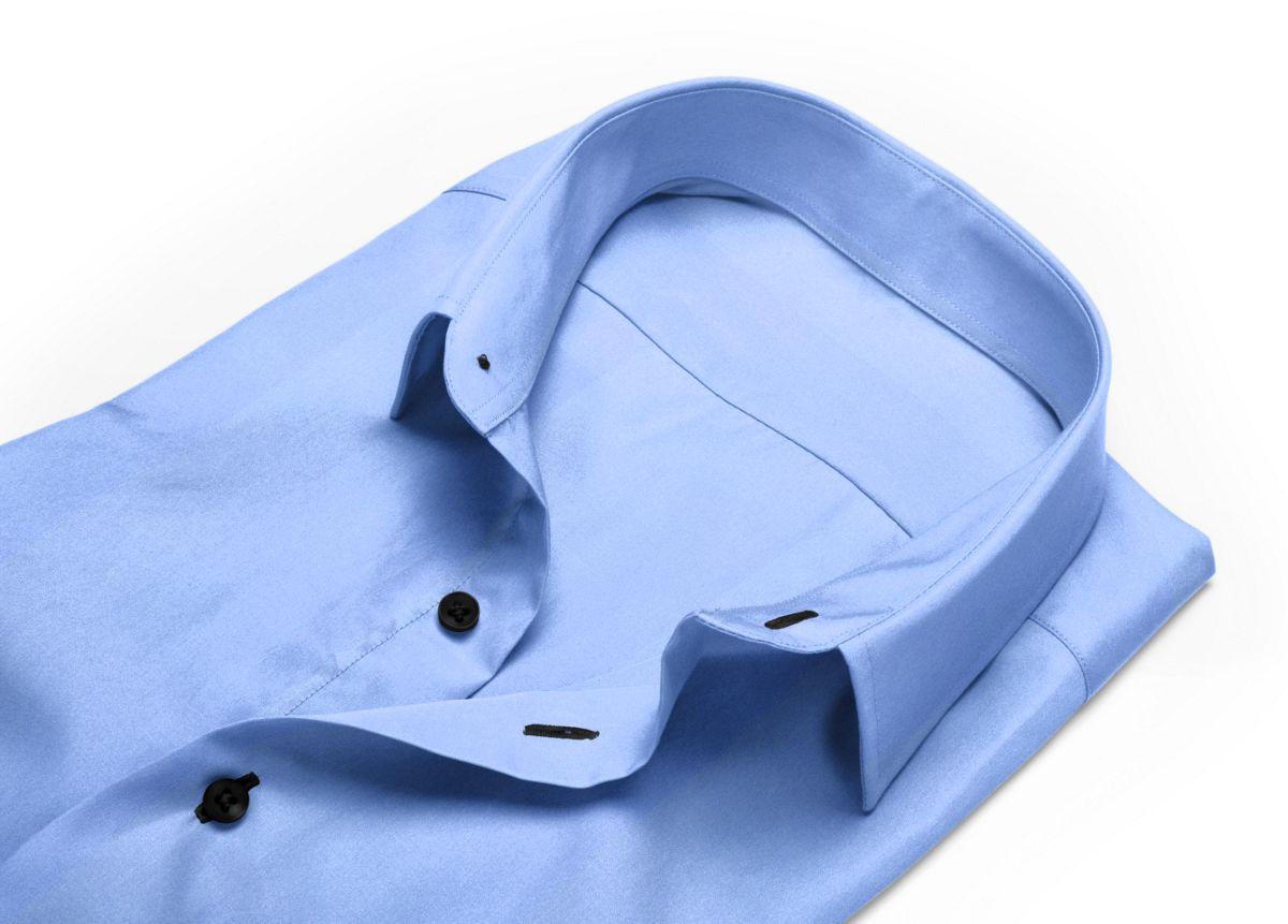 Chemise Grand col classique bleu, bleu clair popeline