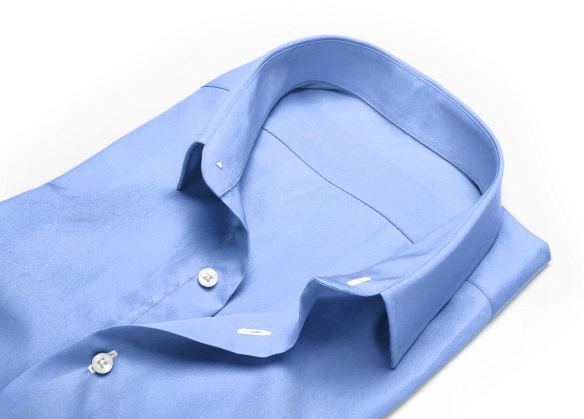 Chemise homme sur mesure mini col boutonné bleu, bleu clair uni