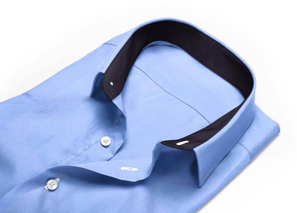 Chemise Col boutonné bleu, bleu clair popeline