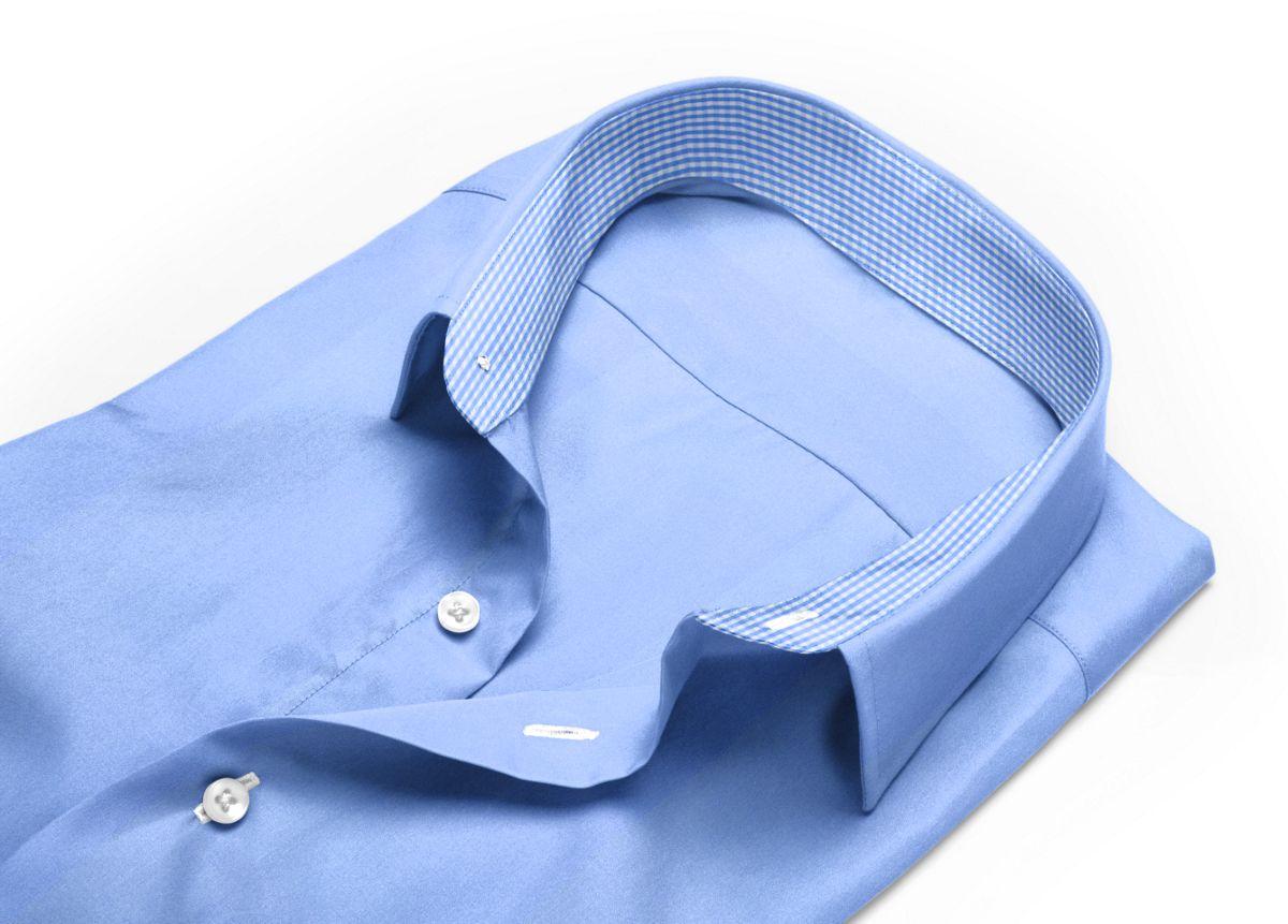 Chemise Col italien ouvert bleu, bleu clair popeline