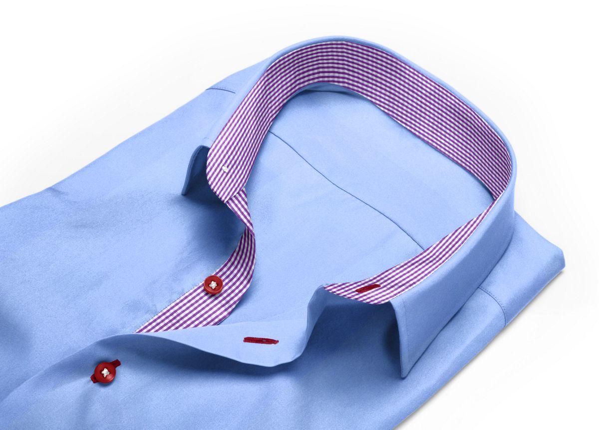 Chemise homme sur mesure petit col classique bleu, bleu clair uni