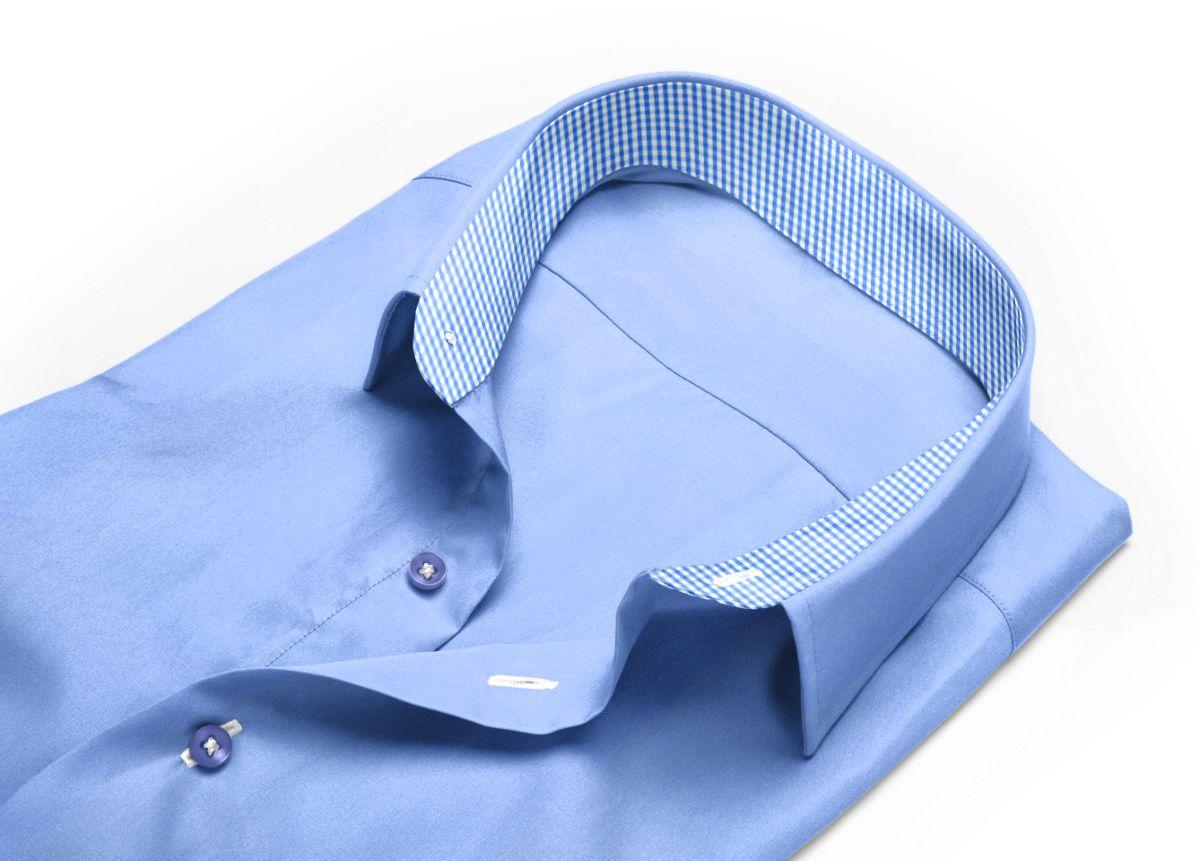 Chemise Col classique bleu, bleu clair popeline