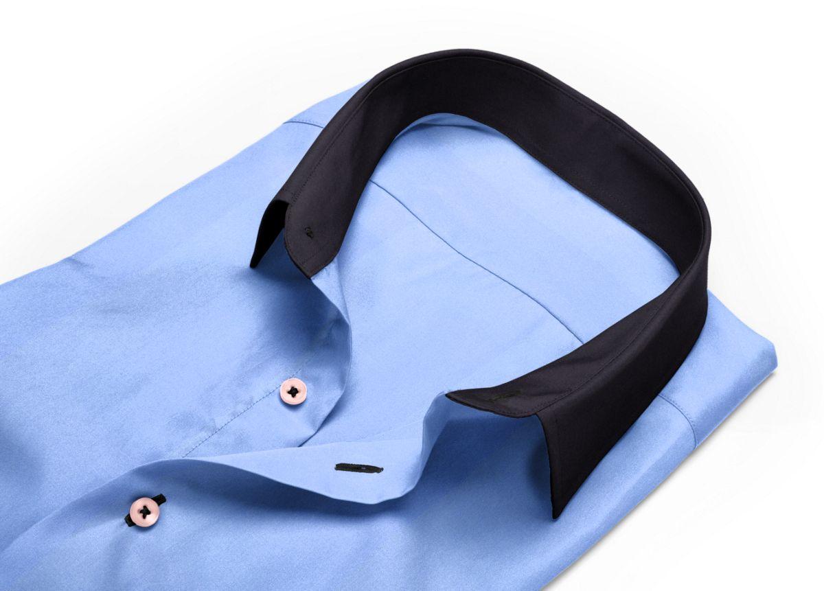 Chemise homme sur mesure mini col bleu, bleu clair uni