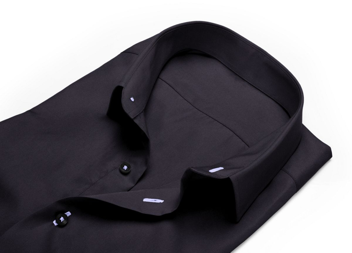 Chemise mini col boutonné noir popeline