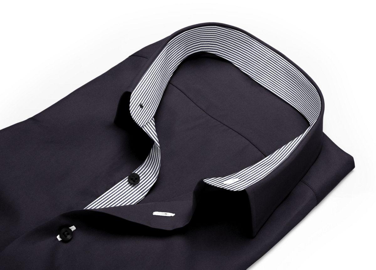 Chemise Grand col classique noir popeline