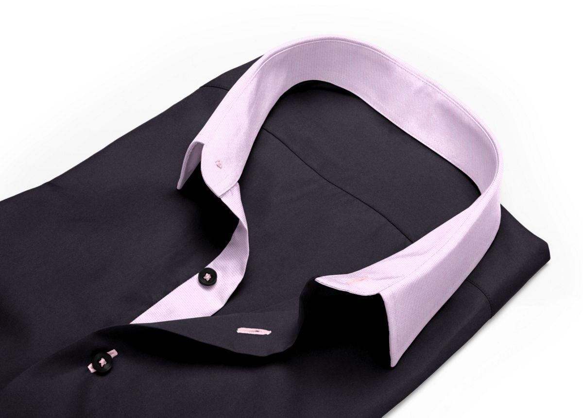 Chemise Col boutonné noir popeline