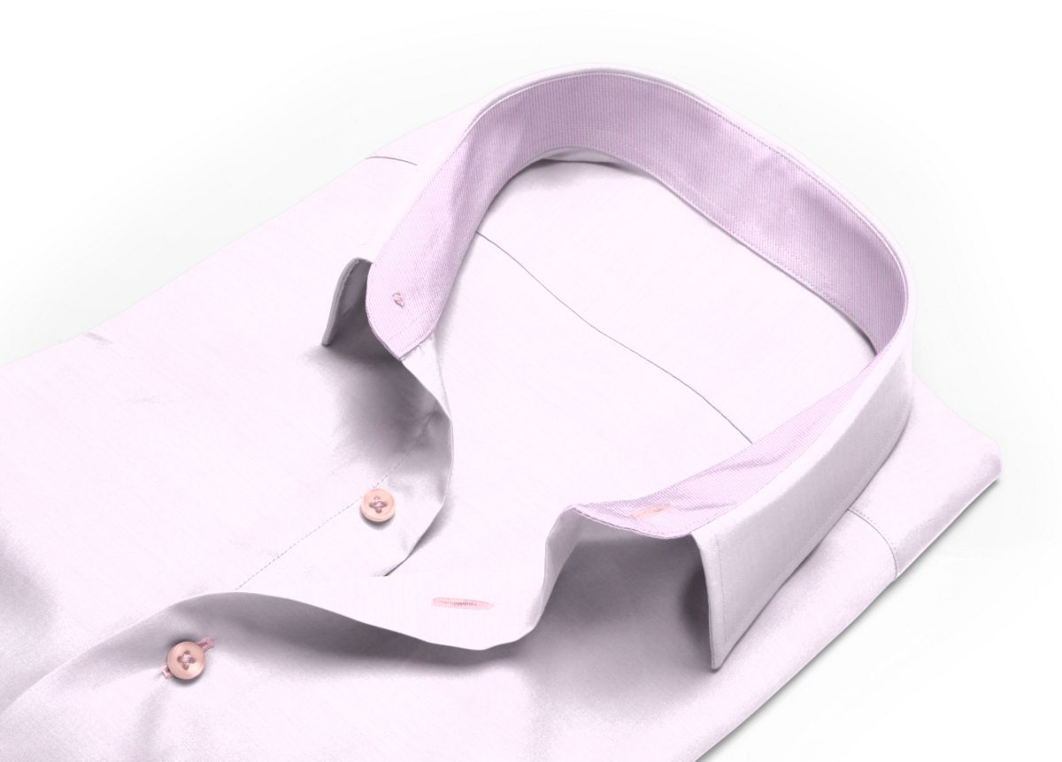 Chemise homme sur mesure col boutonné rose uni