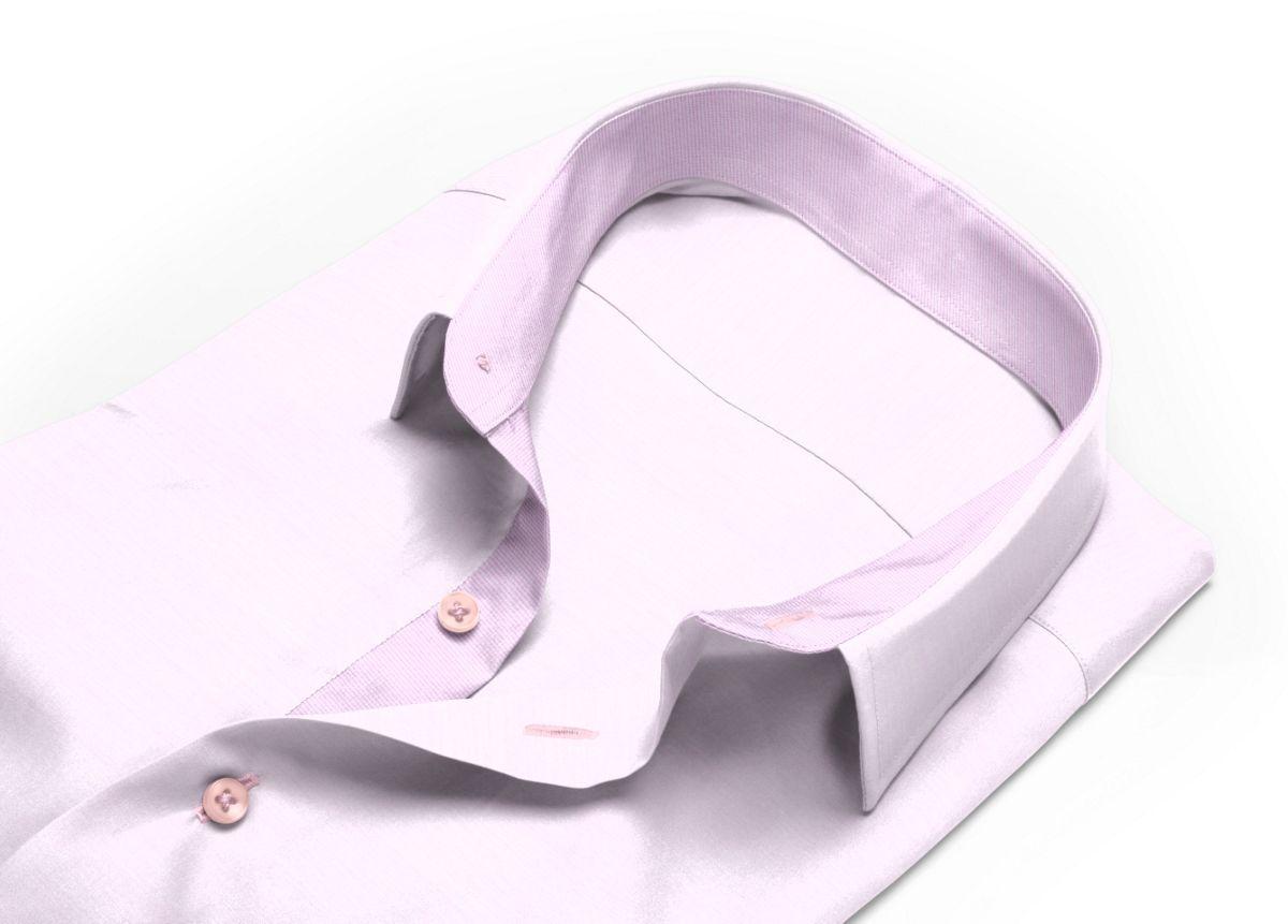 Chemise homme sur mesure col boutonné sous patte rose uni