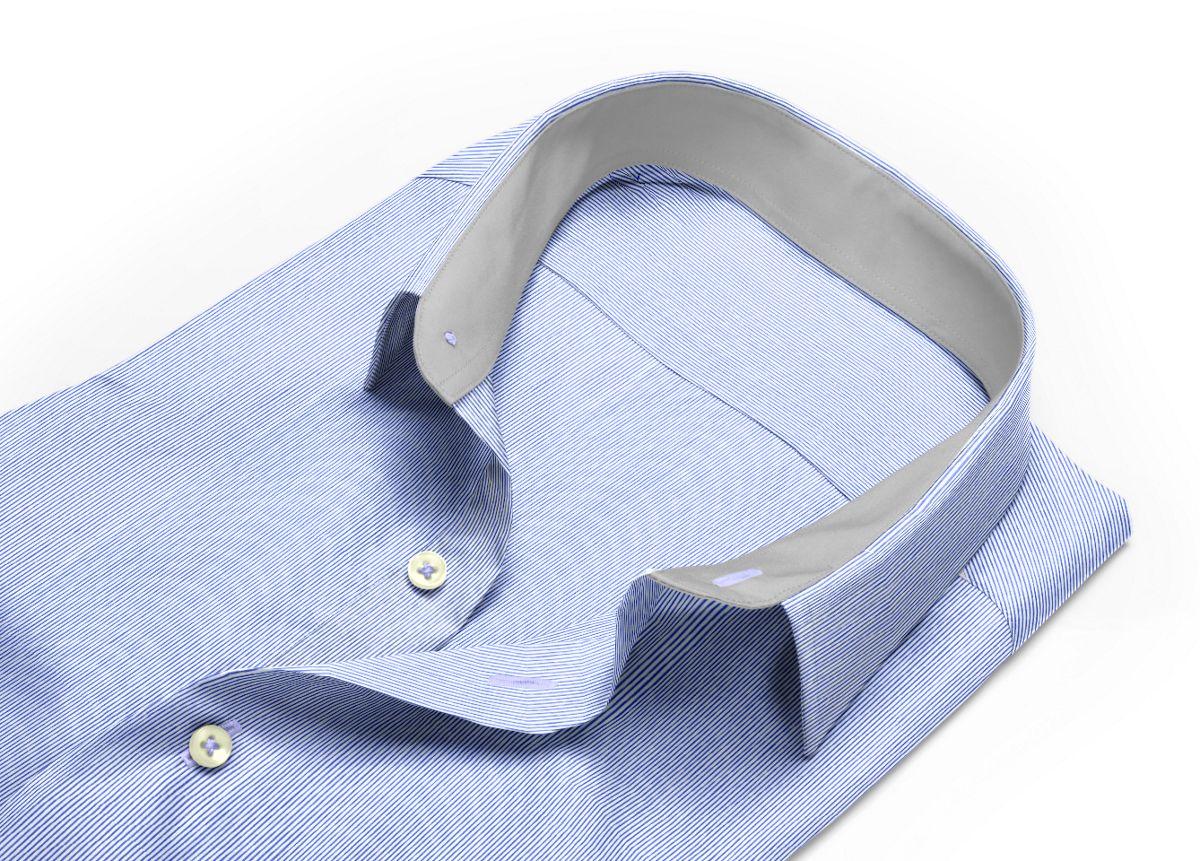 Chemise homme sur mesure col boutonné bleu, bleu foncé, blanc rayé