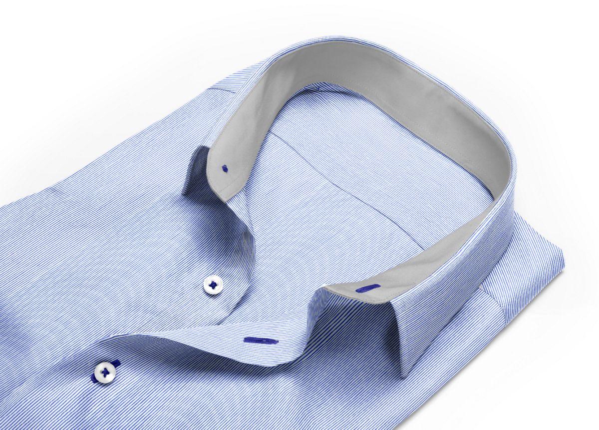 Chemise Petit col classique bleu, bleu foncé, Blanc popeline