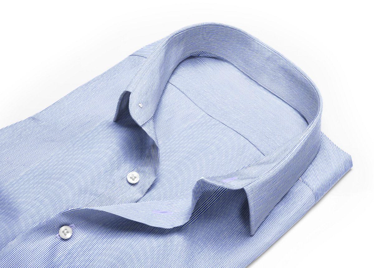 Chemise Col italien ouvert bleu, bleu foncé, Blanc popeline