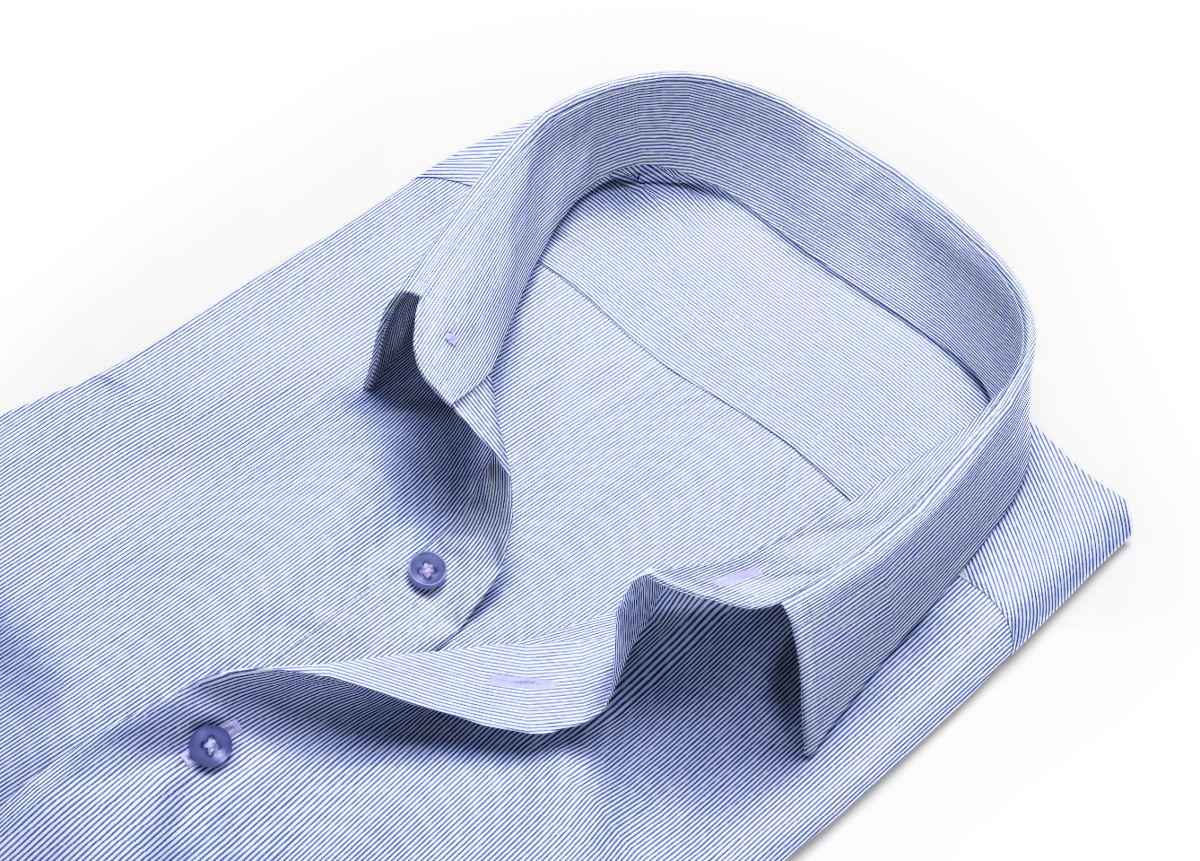 Chemise homme sur mesure petit col classique bleu, bleu foncé, blanc rayé