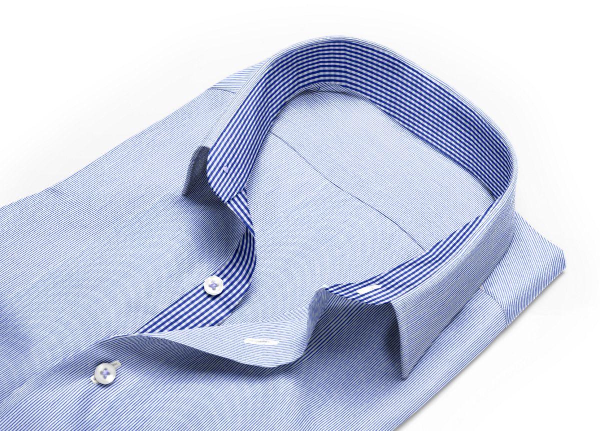 Chemise homme sur mesure col italien bleu, bleu foncé, blanc rayé