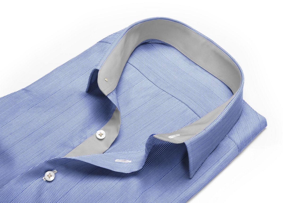 Chemise Col anglais bleu, bleu foncé, Blanc popeline