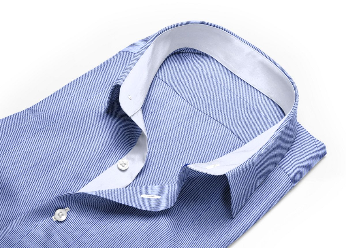 Chemise col rond bleu, bleu foncé, Blanc popeline