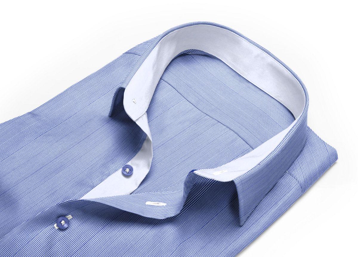 Chemise homme sur mesure col classique bleu, bleu foncé, blanc carreaux