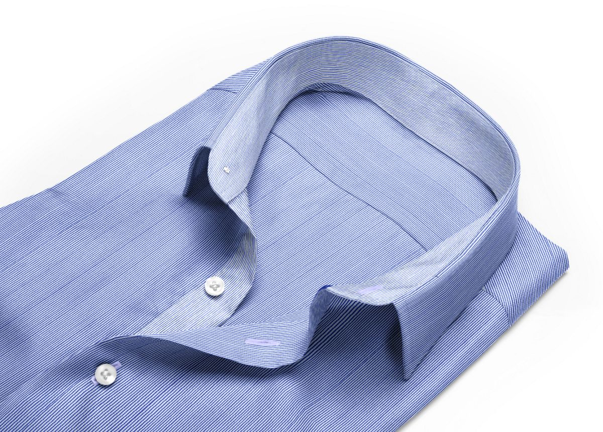 Chemise Col italien bleu, bleu foncé, Blanc popeline