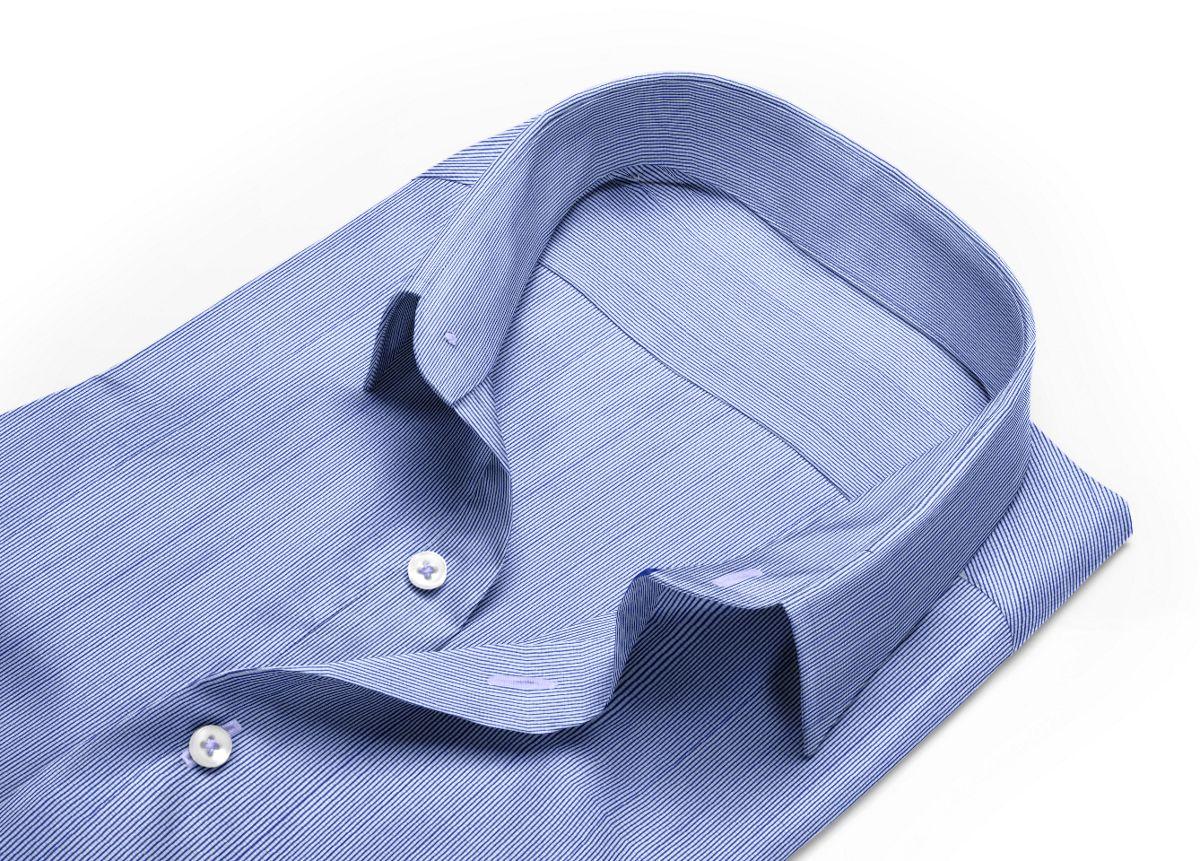 Chemise Col classique bleu, bleu foncé, Blanc popeline