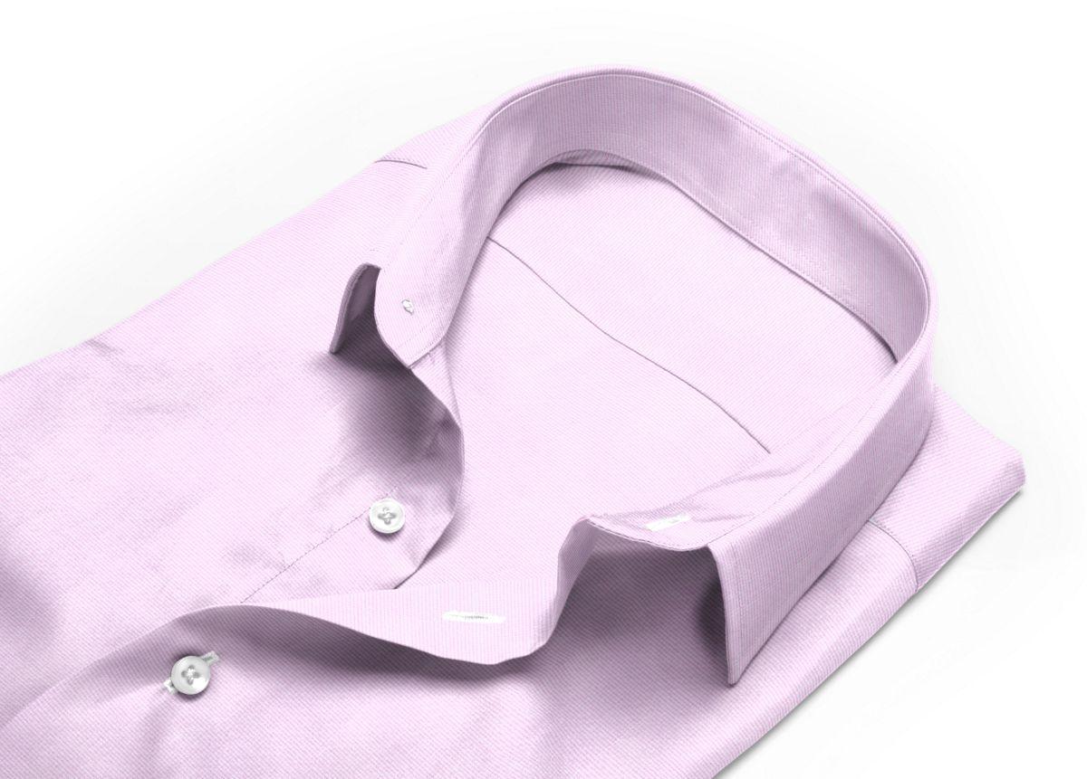 Chemise homme sur mesure col classique rose, blanc carreaux