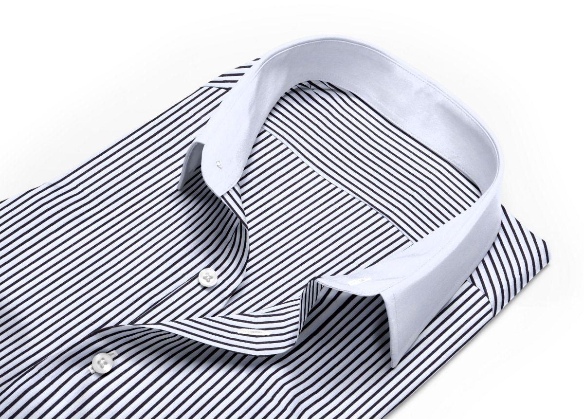 Chemise mini col noir, Blanc popeline