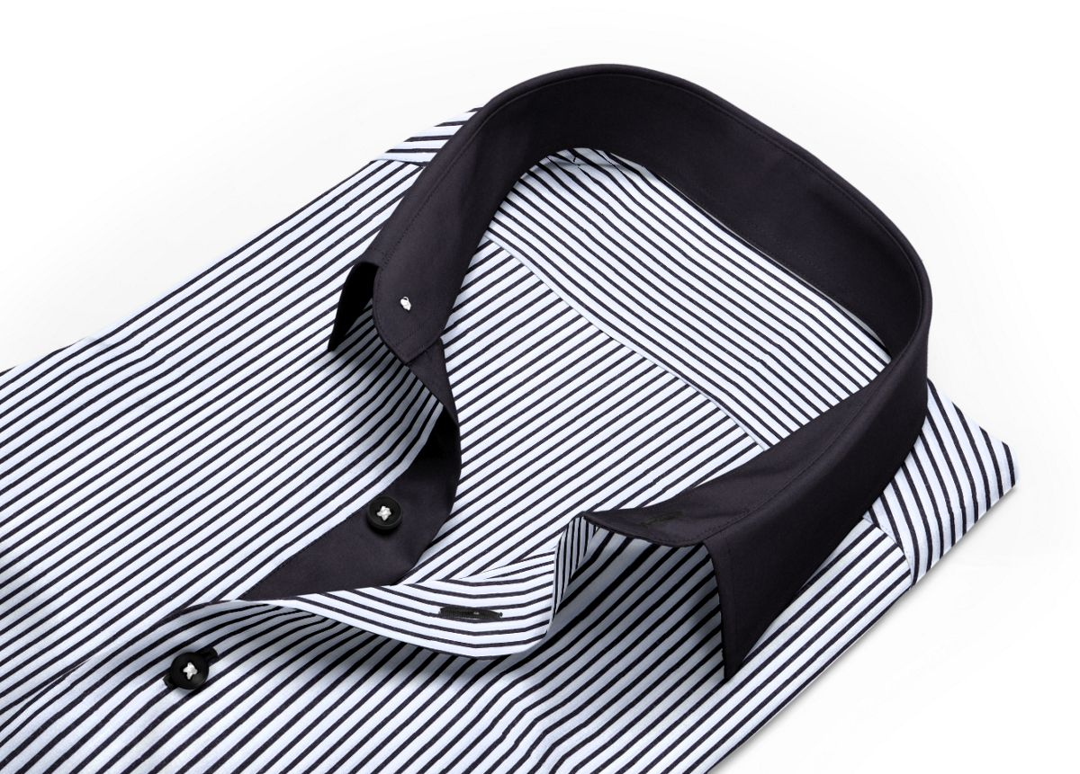 Chemise Petit col classique noir, Blanc popeline