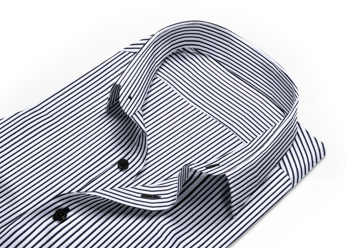 Chemise Col boutonné noir, Blanc popeline