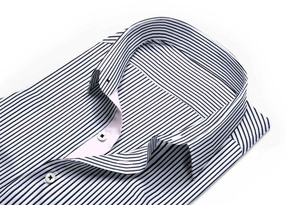 chemise noire rayée