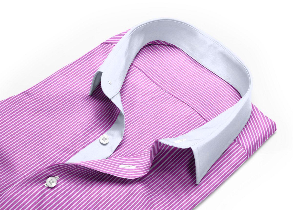 Chemise homme sur mesure col italien rose, rose foncé rayé