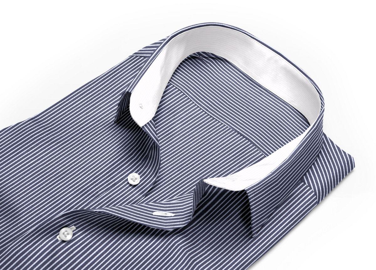 Chemise homme sur mesure col italien gris foncé, blanc rayé