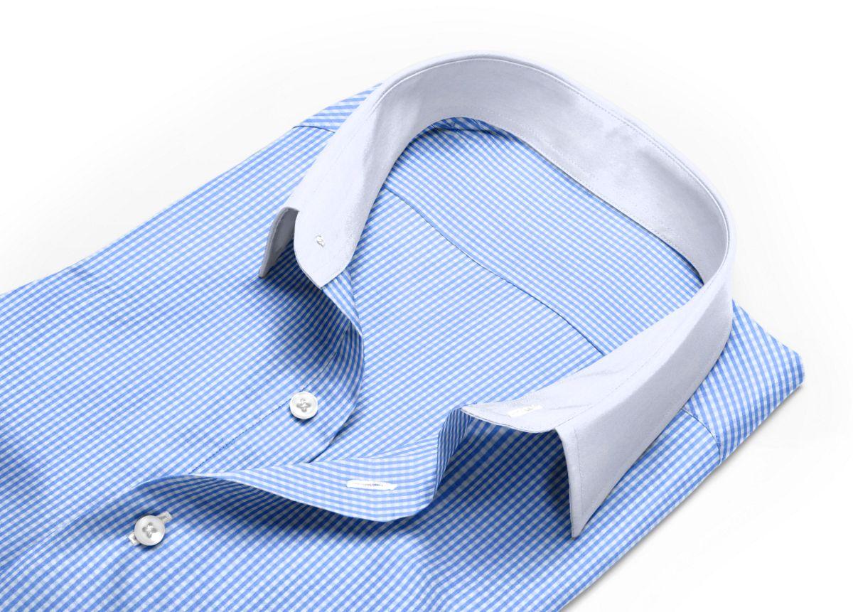 Chemise Col italien ouvert bleu, bleu ciel, Blanc popeline