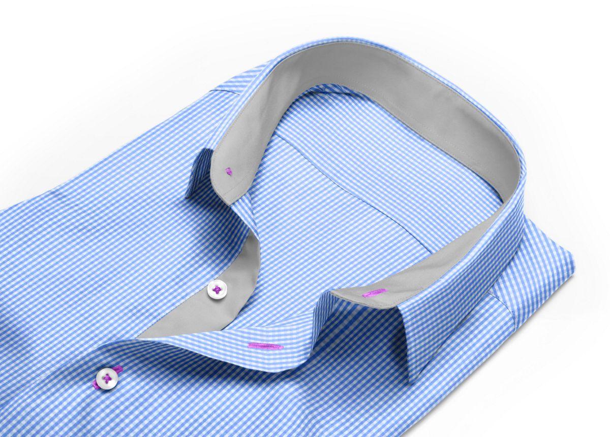 Chemise homme sur mesure col italien bleu, bleu ciel, blanc carreaux