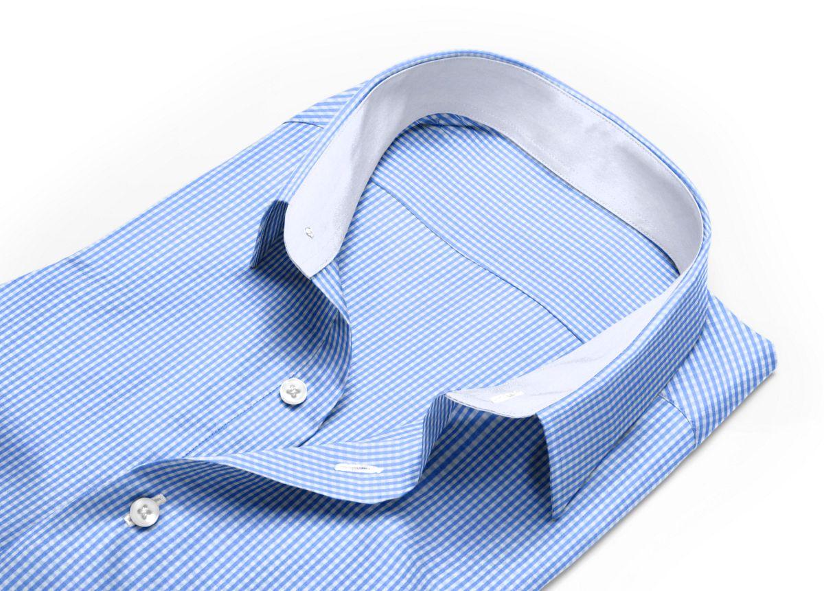 Chemise homme sur mesure mini col bleu, bleu ciel, blanc carreaux