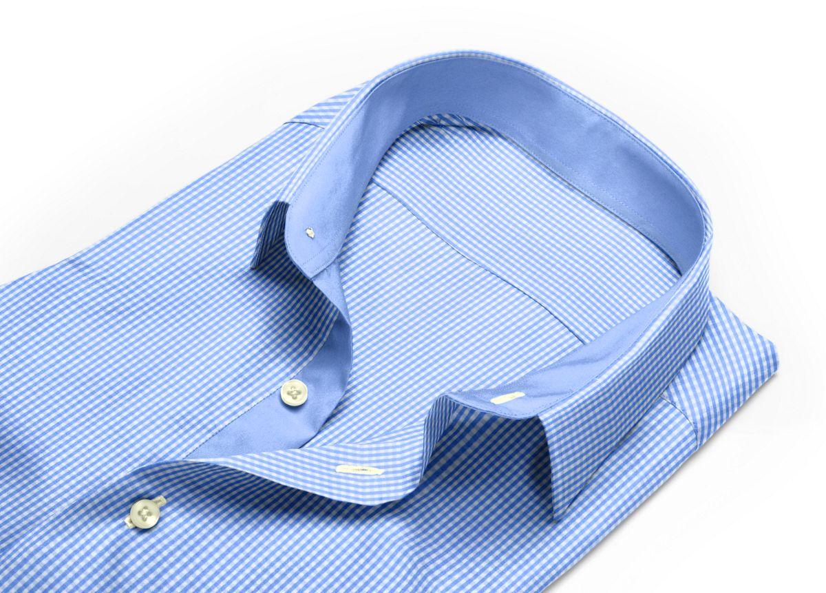 Chemise homme sur mesure petit col classique bleu, bleu ciel, blanc carreaux